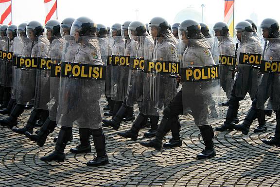 Polizeiparade auf dem Monas Square, Jakarta, 1. Juli 2008