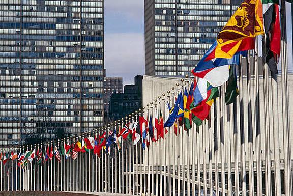 Hauptsitz der Vereinten Nationen in New York, USA