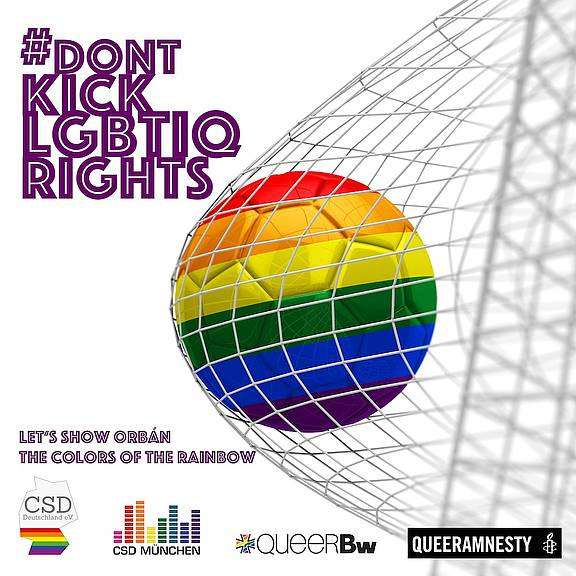Solidarität mit LGBTI in Ungarn beim EM-Spiel Ungarn-Deutschland © CSD Deutschland