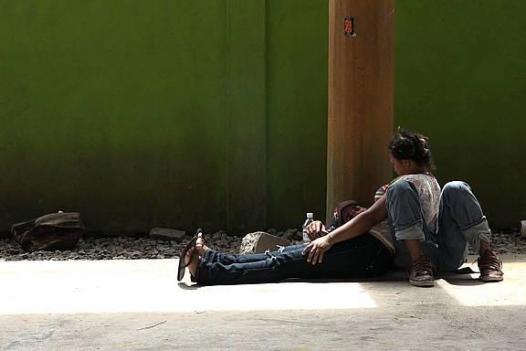 Migrantenpaar in Tenosique, Mexiko