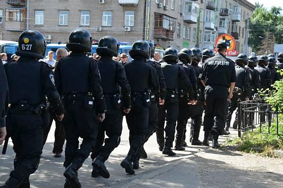 Ukrainische Polizei beim Gay Pride in Kiew
