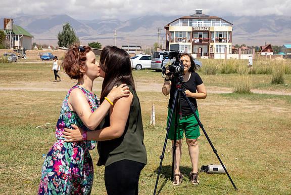 Aktion gegen Diskriminierung von Lesben in Kirgisistan
