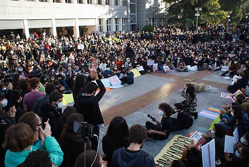 Protestveranstaltung in der Istanbuler Bosporus-Universität, 4. Januar 2021 © Amnesty International Turkey