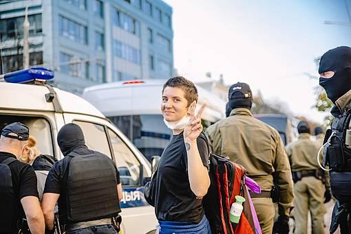 Victoria Biran, bei der Festnahme in Belarus 2020 © Victoria Safchits