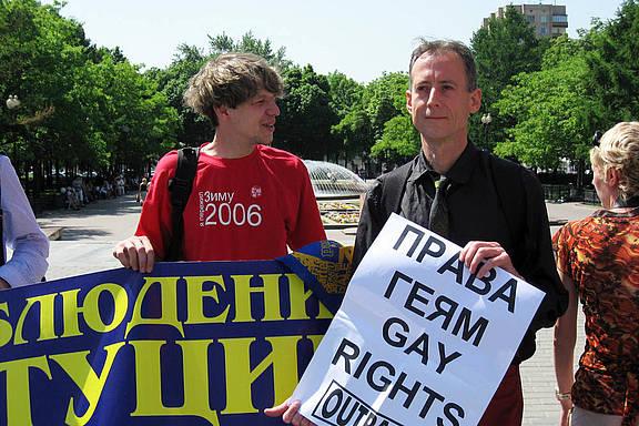 Peter Tatchell in Moskau bei einer LGBT-Demonstation